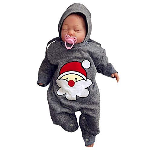 Qiusa Baby Outfit, Simpatico Babbo Natale Stampato Pagliaccetto + Solido Cappello Natale Set Autunno Inverno Basic Tuta Manica Lunga Vestiti Indoor Girocollo Playsuit Costume Neonato Unisex