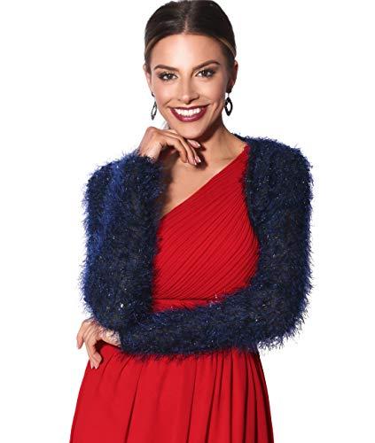 KRISP Bolero Mujer Fiesta Pelo Largo, Azul (5750), Xsmall/Small, 5750-NVY-XSS