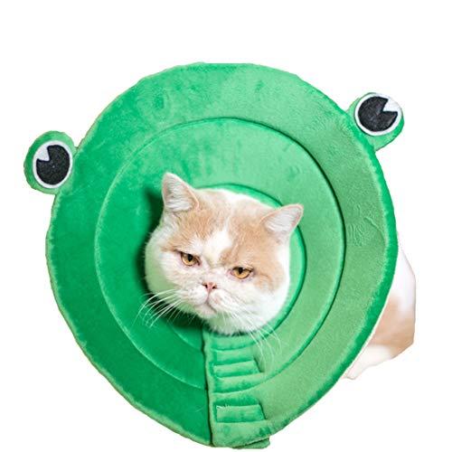 VICTORIE Mascota Collar Recuperación Cuello Protector heridas Evita Lame Tocando arañazos Lesiones cirugía para Gatos Perros Verde Rana L