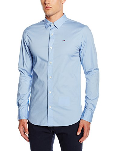 Tommy Jeans Hilfiger Denim Herren Slim Fit Freizeit Hemd Original stretch shirt l/s, Blau (LAVENDER LUSTRE 556), Gr. Medium (Denim Herren-slim-fit Indigo Jeans)