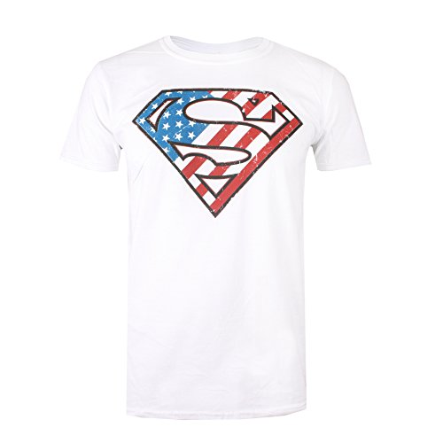 DC Comics Herren Superman Flag T-Shirt, Weiß (White WHT), X-Large (Shirt Superman Weiß)