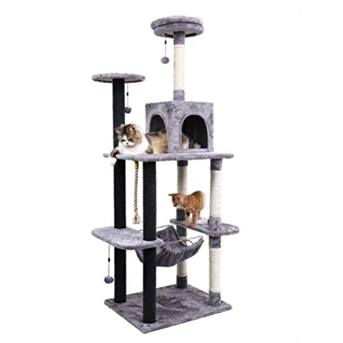 lili Domestic Delivery Big Cat Tree Tower Condo Furniture Scratch Post Cat Jumping Toy with Ladder for Kittens Pet House Play,Pink
