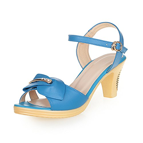 Lgk & fa estate sandali da donna d' estate sandali scarpe in pelle con spessore con no Good impermeabile pesce bocca scarpe fibbia scarpe a Mother, 34 black 37 days blue