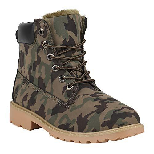 Stiefelparadies Warm Gefütterte Worker Boots Damen Schuhe Outdoor Stiefeletten Robust 152286 Camouflage Avelar 39 | Flandell®