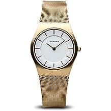 Bering Classic - Reloj analógico de mujer de cuarzo con correa de acero inoxidable dorada -
