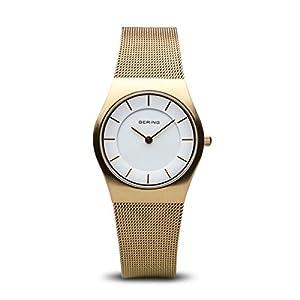 Bering Classic – Reloj analógico de mujer de cuarzo con correa de acero inoxidable dorada – sumergible a 50 metros