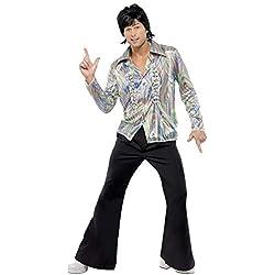 Smiffys Costume rétro des années 70, noir, avec motif psychédélique, chemise et pantalon