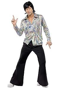 """Smiffys-33841M Disfraz Retro de los 70, con Estampado psicodélico, Camisa y Pantalones de Campana, Color Negro, M - Tamaño 38""""-40"""" (33841M"""
