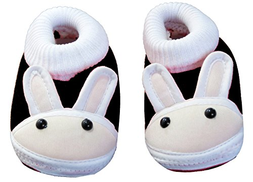 Neska Moda Baby Boys & Girls Rabbit Black Booties For 0 To 12 Months Infants