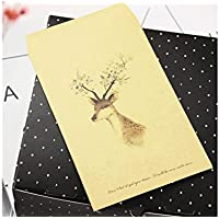 SUPRERHOUNG 1 Pc Deer Desgin Crafts Sobre de Papel Kraft Colored Drawing Elk Tarjeta de Regalo Envuelve (Flower Deer)