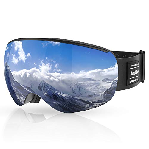 Andake Kinder 4-10 Jahre | magnetisch | Brillenträger Anti-Fog UV400-Schutz Anti-Beschlag/Kratzen | verspiegelte sphärische Linse Schwarz Skibrille Goggle Snowboardbrille, Grau/VLT 9.4%