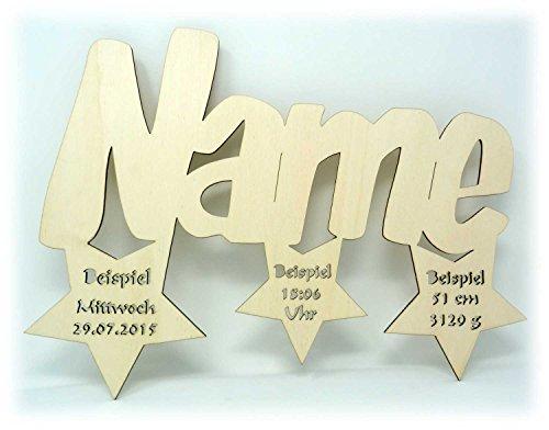 Schlummerlicht24 Led Sternen Trio + Name & Daten Schlafzimmer Wohnzimmer Wand-Deko Kindes Paares Mann Frau Baby-Geschenke (Unbehandelt) (Geschenke Zum Geburtstag Für 1 Jährigen Jungen)