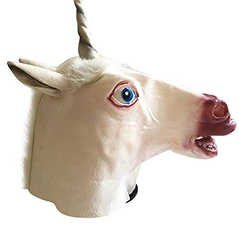 Tinksky Creepy Unicorn Head Latex Mask Halloween Costume Theatre Prank Prop Crazy Masks pour les nuit horreur Halloween