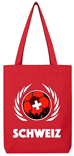 Swiss Coppa Del Mondo Fan Mondiali Di Calcio Tote Bag In Cotone Biologico Iuta Stanley Stella Di Calcio Svizzera Rosso