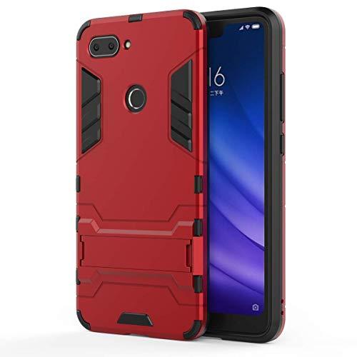 HDRUN Xiaomi Mi 8 Lite Funda - 2in1 Duro PC + Suave TPU Silicona Dual Layer Hybrid High Absorción de Impacto con Soporte Armadura Carcasa Case para Xiaomi Mi 8 Lite,Rojo