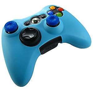 Pandaren® Silikon hülle skin für Xbox 360 controller (hellblau) x 1 + thumb grip aufsätze x 2