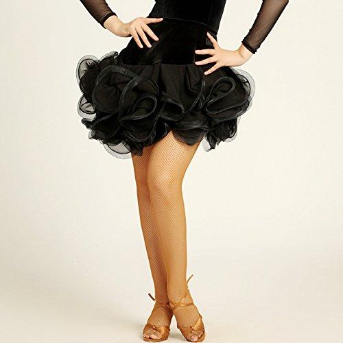 Wanson Frauen Classic Latin Dance Rock Square Dance Kleid Halb Rock Latin Dance Rock Tanzwettbewerb Performance Dress,Black,S (Square Hose Kostüm)
