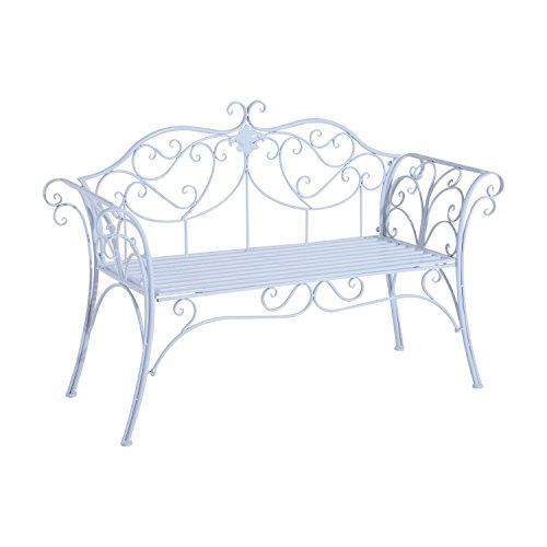 Outsunny Gartenbank, für den Außenbereich, 2-Sitzer, romantisch, aus Metall, Weiß