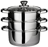 Denny International® High Quality 3pc 22cm Stainless Steel Steamer Cooker Pot Set Glass Lids 3 Tier Pan Cook Food