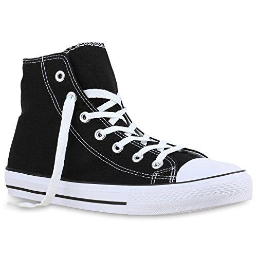Stiefelparadies Herren Sneakers High Top Sportschuhe Stoffschuhe Freizeit Schuhe 135865 Schwarz Brooklyn 41 Flandell