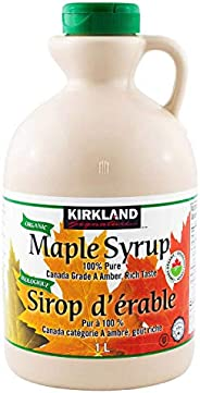 Kirkland Signature 100% Pure Organic Maple Syrup 1 Litre, Canada grade a amber, Rich Taste