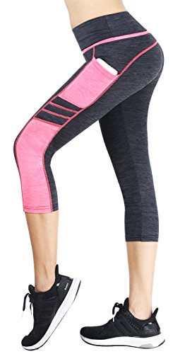 neonysweets Damen Running Yoga Pants ACTIVE Tights Capri Workout Leggings Gr. Medium, Gray/Pink(Side Pockets) (Tights Running Capri)