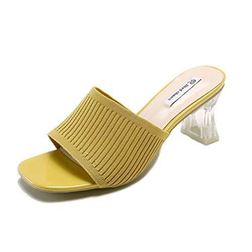 BIUU Frauen Low Mid Heel Slip auf Mule Sandalen Obermaterial gestrickt Mid Heels Hausschuhe Größe 35-39,Yellow,36 Low Heel Slip Heels