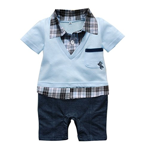 Waboats Baby Junge Plaid Kletterndes Clothes Strampler Anzug Revers Sets (6M, Hellblau) (Everyday Item Kostüm)