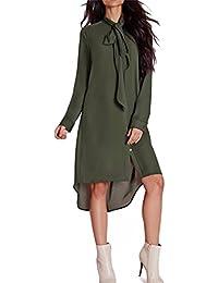Femmes Robe de Genous Papillon Chemise Elegant Robe Crayon Mi-Longue Robe, Reaso Décontractée Longue Manche Lose Robes en mousseline de soie Casual Tunique Chic Blouse
