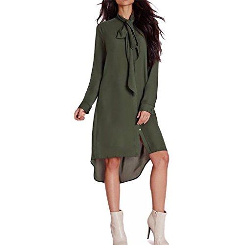 Femmes Nœud papillon Chemise Robe , Reaso En vrac Style Décontractée Longue Manche Robes en mousseline de soie (XL, Vert)
