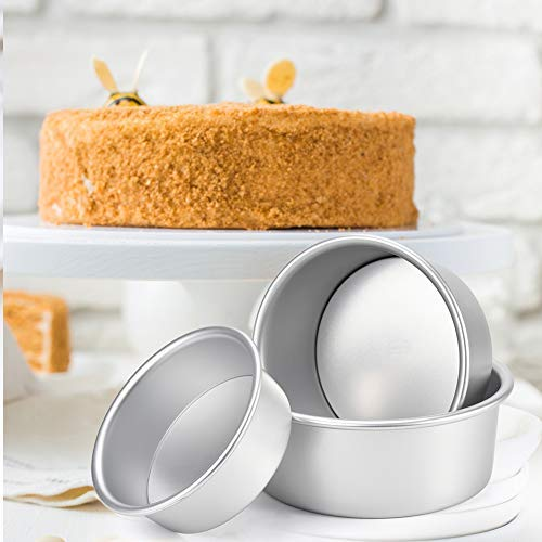 "Ankway Round Cake Tins Set Cheesecake Pan, Nonstick and Leak Proof 3 Pieces (5""/6""/7"") Cake Tin Baking Mold Bakeware Set Pizzas Lasagna Brownie Pans with Removable Bottom, Fit in Instant Pot"