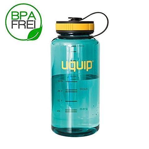 Uquip 1 Liter Tritan-Trinkflasche BPA-frei mit Schraub-Verschluss   Türkise Kunststoff-Flasche für Sport, Outdoor oder Kinder   Transparenter Trink-Becher leicht, bruchsicher - ohne Weichmacher!
