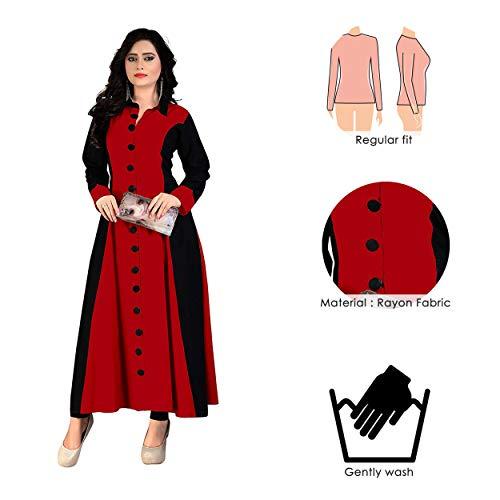 Madhuram Textiles Women's Rayon Princess Cut Kurta (M-114 R L_Red_Large)