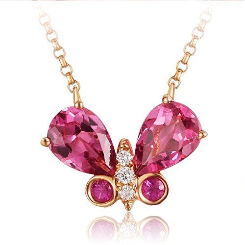 Carleen 18K Solide Rose Gold Schmetterling Halskette, Echter Birnenschnitt roter Turmaline (4x6mm, 0.938 karat) und runden Diamant Anhänger, 45cm Goldkette Frauen Schmuck Geschenk (0.938)