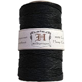 Hemptique Hemp Cord Spool 20lb 205'-Black, Other, Multicoloured, 6.06 x 6.06 x 11.9 cm