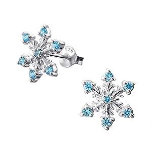 Monkimau Damen Ohrringe Schneeflocke Ohrstecker aus 925 Sterling Silver echt Silber mit 14 Kristallen