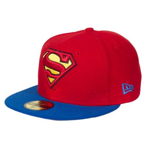 2 Cap - SUPERMAN - Red-Blue, Size:7 3/8 ()