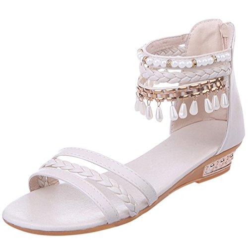 Azbro Women's Open Toe Ankle Strap Wedge Heels Bohemian Sandals Beige
