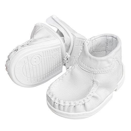 mokki Klassisch Babyschuhe, Lauflernschuhe, Krabbelschuhe, Krippeschuhe, mit innovativem Reißverschluß (15/16, weiß) - Klassische Krippe Schuhe