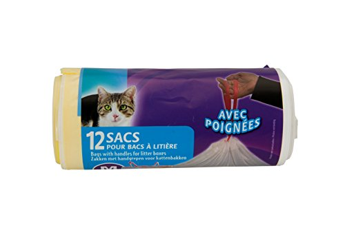 AIME Rouleau de 12 Sacs pour Bac à Litière pour Chat, Sacs avec Poignées Refermables, Format Universel 42X30CM