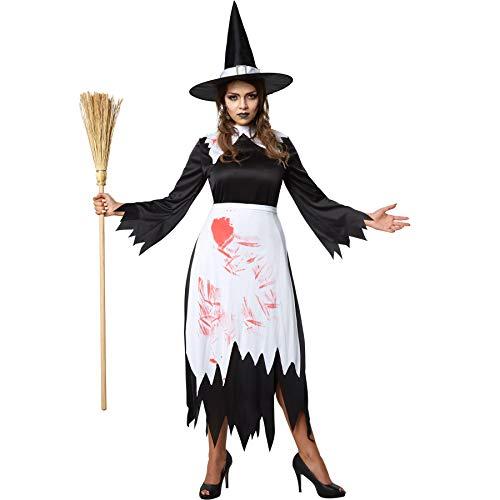 Kostüm Frau Magierin - dressforfun 900434 - Damenkostüm gruselige Hexe, Teils ausgefranstes und blutbeflecktes Hexenkostüm (XXL | Nr. 302234)