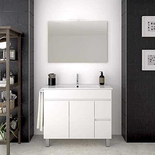 DUCHA.ES Mueble DE BAÑO con Lavabo Y Espejo Blanco con Aplique LED Varias Medidas (100CM)