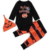 Zarupeng Baby Halloween Body Mädchen Jungen Langarm Strampler Overall Jumpsuit + Gestreiften Hosen + Kürbis Hut Outfits Set