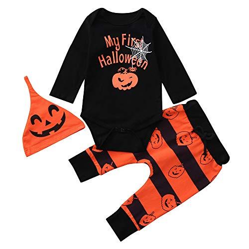 Ansenesna Halloween Kostüm Baby Mädchen Junge Kürbis Spinne Brief Drucken Overall + Gestreift Hosen + Cap Kleidung Set (70, (Jungen Spinne Kostüme)