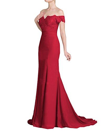 Graduation Rot Kleid (Frauen Lace Chiffon Party Kleider Perlen Backless Mermaid Prom Kleider)