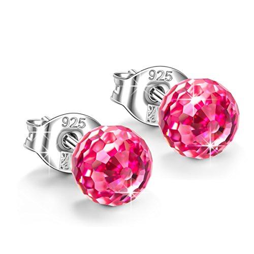 Alex Perry geschenk fur frauen weihanchten ohrringe damen silber 925 ohrstecker swarovski rosa kristall schmuck damen pärchen geschenk für frauen hochzeit geschenke für freundin mama festival schmuck