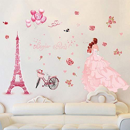 Xqi wangpu Adesivi murali Carino Ragazza Fai da Te Bella Arte per camere Coppia Stickers murali in PVC Home Decor 60X90cm