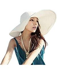 affa69f10bafd Hemore Sombrero de Playa con ala Ancha Plegable para Mujer Sombrero de Paja  de Verano en