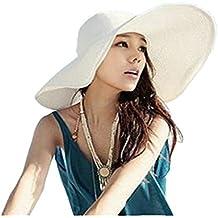 Hemore Sombrero de Playa con ala Ancha Plegable para Mujer Sombrero de Paja  de Verano en c912181162d