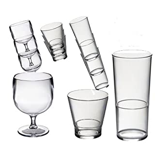 Roltex Special Stacking Set of Polycarbonate Unbreakable Reusable Glasses 6 Stacking of Each Wine Glasses (220ml), Whisky/Juice Glasses (250ml), Glasses (450ml/ 3/4 pint to rim)